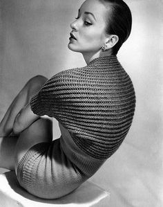 Model is wearing knit fashion from Tina Leser, photo by Horst, Vogue, April 15, 1950