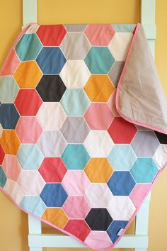 Baby Quilt Geometric hexagon hipster blanket by PETUNIAS crib nursery decor baby shower gift newborn photo prop mod modern toddler bedding