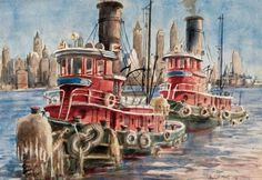 Artwork by Reginald Marsh, Tugboats, Made of Watercolor on paper