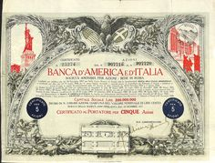 BANCA D'AMERICA E D'ITALIA - #scripomarket #scriposigns #scripofilia #scripophily #finanza #finance #collezionismo #collectibles #arte #art #scripoart #scripoarte #borsa #stock #azioni #bonds #obbligazioni