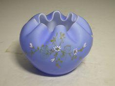 Victorian Art Glass Rose Bowl Periwinkle Blue White Enamel ca 1880-1900