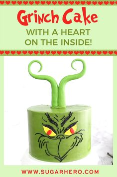 This showstopping green Grinch cake is decorated with a perfectly Grinchy face and a wonderful secret--a red heart on the inside! Christmas Goodies, Christmas Desserts, Christmas Treats, Christmas Baking, Holiday Treats, Holiday Recipes, Grinch Christmas, Christmas Cakes, Xmas
