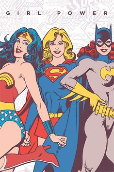 wonder woman, supergirl, batgirl poster