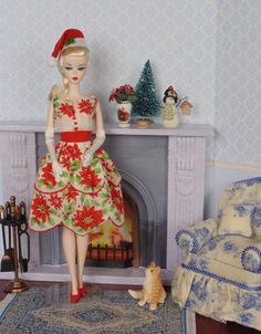 Poinsettia Red for Silkstone Barbie by HankieChic on Etsy now