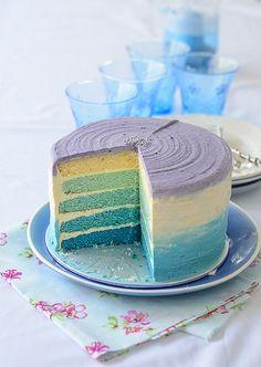 Blue Ombre Birthday Cake by Lisa Lemony Kitchen, via Flickr