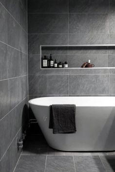 Gray and White Bathroom Tile Idea. 20 Gray and White Bathroom Tile Idea. 40 Gray Shower Tile Ideas and Pictures … Neutral Bathroom Tile, Modern Bathroom Design, Gray And White Bathroom, Bathroom Flooring, Bathroom Interior Design, Bathroom Cabinets, Small Grey Bathrooms, Bathroom Curtains, Bathroom Shelves