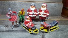"""Lot of Vintage BARCLAY Lead Winter Figures with Skiing SANTA CLAUS on Skis 3"""" #Barclay"""