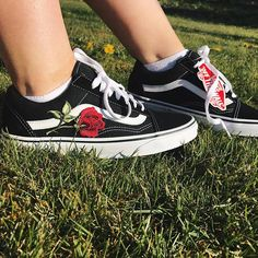 old skool vans roses patch