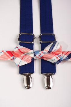 Coral and Navy Plaid Suspender & Bow Tie Set Baby by DapperGent