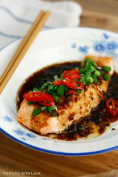 Salmon with Black Bean Sauce (this looks similar to the recipe used for the tilapia black bean sauce. Could substitute some samba olek for the chillies).