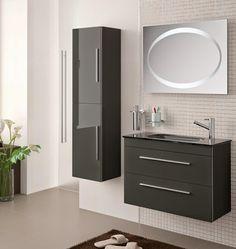 Meuble de salle de bain SALGAR, faible profondeur 35 cm, SERIE 35 gris anthracite.