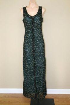 Karen Kane Black Floral Boho Hippie Grunge Semi Sheer Slip Maxi Dress sz M #KarenKane #Maxi
