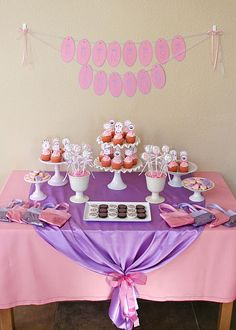Real Parties: Pink and Purple Princess Party - Kara's Party Ideas - The Place for All Things Party Purple Princess Party, Purple Party, Princess Birthday, Pink Purple, Pale Pink, Tea Party Birthday, First Birthday Parties, Birthday Ideas, Birthday Crowns