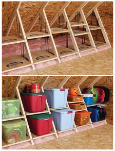 DIY Tiny House Storage And Organization Ideas On A Budget – Vanchitecture DIY winziges Haus Lagerung und Organisation Ideen mit kleinem Budget Attic Organization, Attic Storage, Smart Storage, Eaves Storage, Extra Storage, Creative Storage, Storage Bins, Storage Area, Clever Storage Ideas