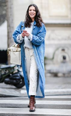 Best Street Style From Paris Fashion Week Fall 2017 Tip: Play with levels! Try sporting a cropped pair of pants with your longest coat.