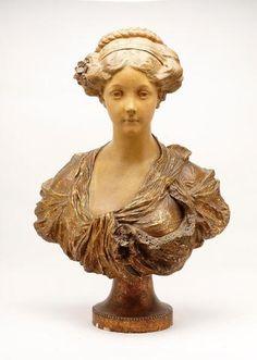 sculpture en platre polychrome et patin repr sentant un buste de french auction treasures. Black Bedroom Furniture Sets. Home Design Ideas