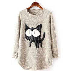 SheIn(sheinside) Beige Long Sleeve Contrast PU Leather Cat Pattern Sweater