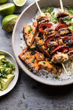 Grilled Chili Honey Lime Chicken and Sweet Potatoes with Avocado Salsa | halfbakedharvest.com #easyrecipes #chicken #summergrilling