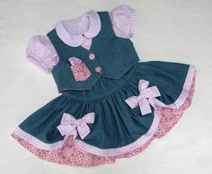 Denim Cowgirl Dress in PINK, 3 piece Twirl Skirt-Top-Vest Pageant-Party Set, Made to Order