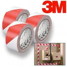 3pk 3M Tekk 767 Red & White Safety Stripe Duct Tape –108 Yards