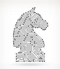 Chess Knight Piece on Circuit Board vector art illustration Line Art Design, Graphic Design, Chess Piece Tattoo, Chess Logo, Cartoon Knight, Knight Drawing, Knight Chess, Knight Tattoo, Skeleton Drawings