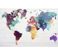 Weltkarte Poster Die Welt in Wasserfarben. Hier bei www.closeup.de