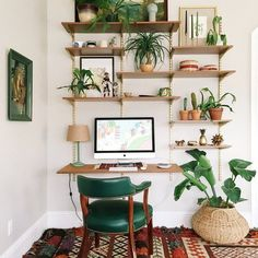 DIY Mid-Century Desk Wall Unit Combine with rope knotted hanging shelf idea. Home Design, Home Office Design, Home Office Decor, Diy Home Decor, Room Decor, Ikea Office, Office Ideas, Design Ideas, Desk Wall Unit