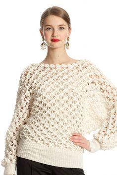 Dolman suéter volumen patrón de crochet de Oscar de la Renta.