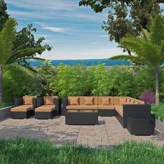 Modway Cohesion 11 Piece Outdoor Patio Sectional Set in Espresso Peridot Outdoor Couch, Outdoor Dining, Outdoor Decor, Modern Outdoor Furniture, Modern Patio, Garden Furniture, Furniture Design, Patio Side Table, Patio Sets