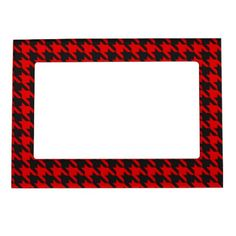 Red And Black Houndstooth Pattern Magnetic Photo Frame - rustic gifts ideas customize personalize