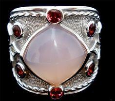 Dallas Prince Rose Quartz Ring Sterling Silver Garnet Gemstone Signed 7 Pink Red | eBay