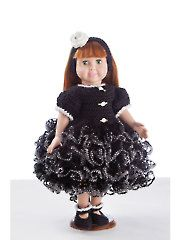Crochet Doll Clothes & Shoes - Ruffled Party Dress
