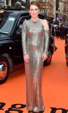 Julianne Moore in a silver sequin Tom Ford dress