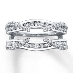 LOVE but with princess cut diamond solitaire Diamond Enhancer Ring 3/4 ct tw Round-cut 14K White Gold