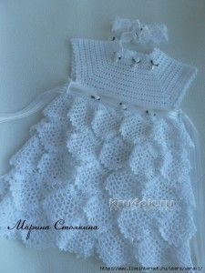 Mesh ruffles baby dress free crochet pattern                                                                                                                                                                                 More