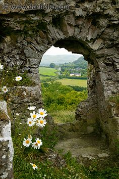 Looking through the portal at Dunamase Castle, in eastern Ireland