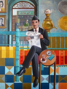 Iraqi Gentle Man By: Nadia Osi الافندي 2015 Al Afandi - Acrylic on Canvas x Mongolia, Timor Oriental, Sri Lanka, Arte Judaica, Art Deco Paintings, Middle Eastern Art, Newspaper Art, Arabian Art, Historical Art