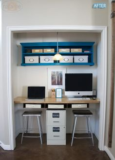 conversion of small closet into an in-wall office