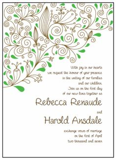 "Invitations 5"" x 7"" Portrait. Printable Wedding Invitations Paisley Rebecca Suite: Green and Brown"