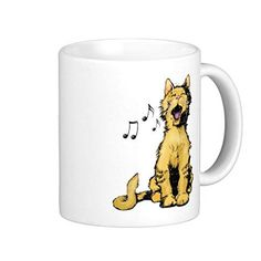 Cute Singing Orange Cat Drawing With Musical Notes Coffee Mug 11 OZ *** Wow! I love this. Check it out now! : Cat mug
