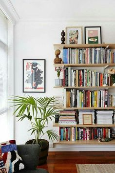 HOME // The Design Files. Bookshelves don't have to have sides. Home Living Room, Living Room Decor, Living Spaces, Small Living, Modern Living, Apartment Living, Apartment Ideas, Minimalist Living, Bookshelf Design