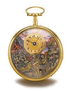 Henry Capt à Genève - A FINE YELLOW GOLD AND ENAMEL QUARTER REPEATING MUSICAL…