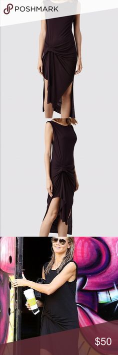 ALLSAINT Dress Riviera Tavi Dress * in a soft viscose and wool blend for a natural flow of fabric *Sleeveless cross seasonal garment has pin and tuck detailing and effortless drape *Burgundy All Saints Dresses High Low
