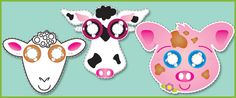 Farmyard Animal Role-Play Masks...A collection of farmyard animal role-play masks ideal for early years role-play scenarios and socio-dramatic play. The pdf includes the following animals: cow, pig, sheep.