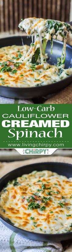 Low Carb Keto Recipes, Low-Carb Cauliflower Creamed Spinach -> a perfect low-carb vegetable side dish that tastes like a million bucks and would easily trick the kids into eating veggies! Healthy Recipes, Diet Recipes, Vegetarian Recipes, Cooking Recipes, Recipies, Recipes Dinner, Dessert Recipes, Pasta Recipes, Crockpot Recipes