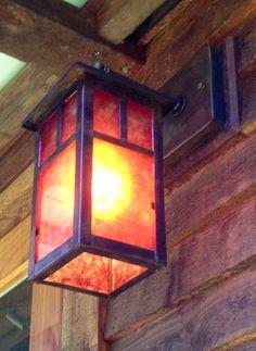 Mission Style Lantern with dark amber panels by High Beams Ltd. highbeams.com High Beam, Vermont, Light Up, Beams, Lanterns, Amber, Table Lamp, Dark, Life