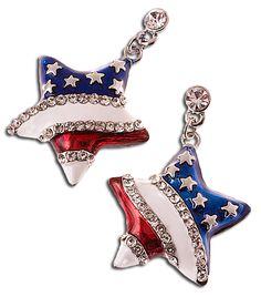 American flag drop earrings in the shape of a star with red white and blue enamel and small diamond like crystals. The stars are silver or gold dots with a blue enamel background. Silver or gold plate