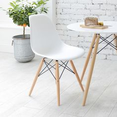 Dwell.com Eiffel dining chair with beech legs white