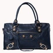 The Route 66 Cowhide Leather Bag With Big Studs Blue