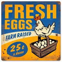 Vintage Farm Fresh Eggs Metal Sign adds unique decor to your home or business. Every Americana Kitchen collector would love this unusual gift. All Farm Fresh Eggs Tin Signs are pre-drilled and ready to hang.